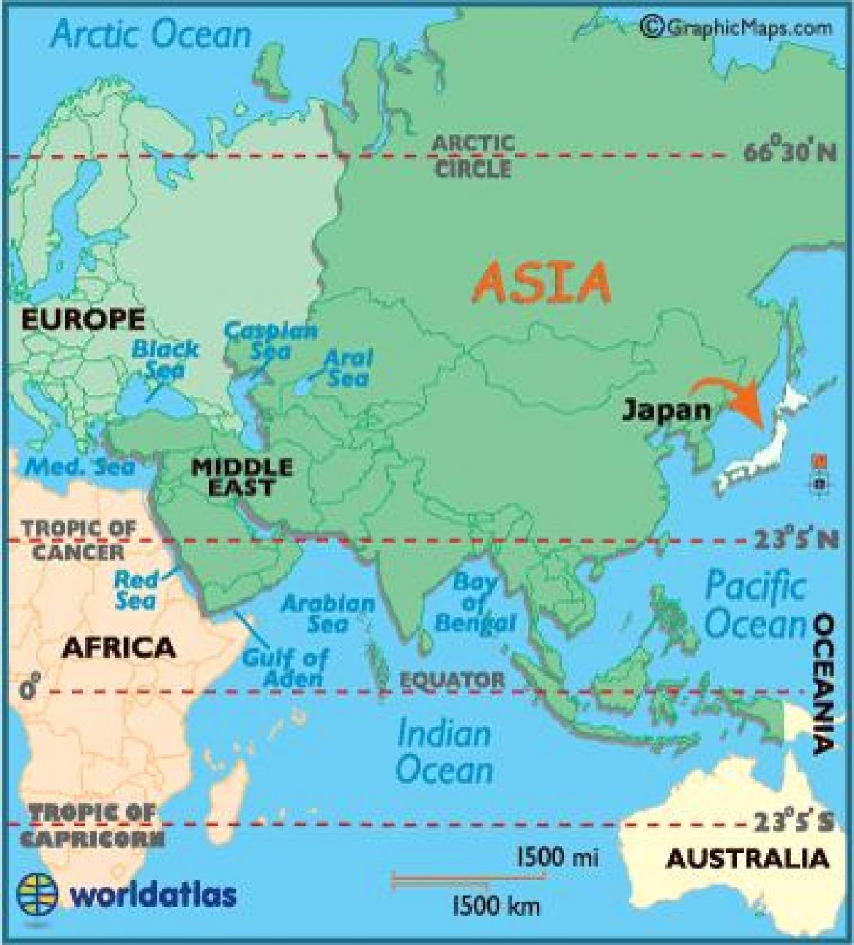 Japan Na Karti Svijeta Karta Svijeta Japanu Istocnoj Aziji Azija